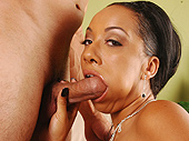Hot ebony girl giving blowjob